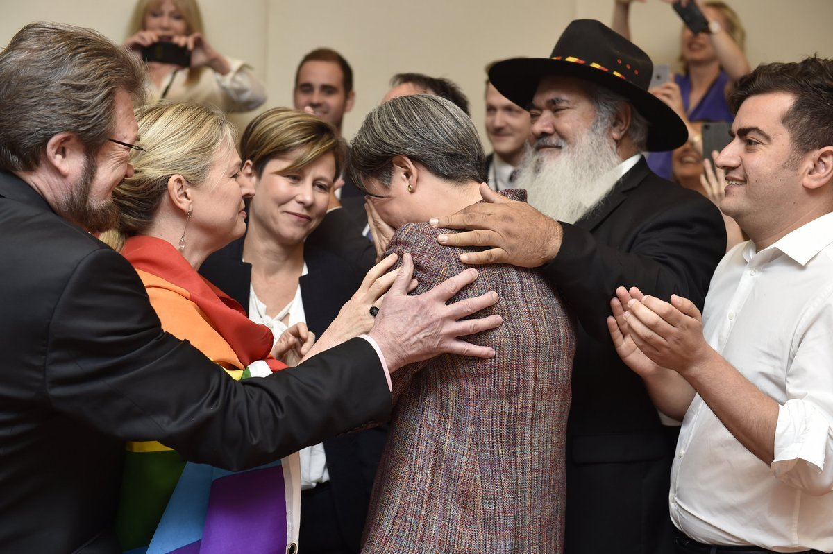 Scenes in Australian Parliament after the Marriage Equality vote